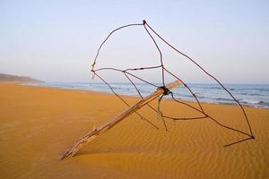 guarda-sol abandonado na praia das tartarugas douradas em Karpasia, Chipre foto