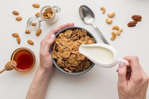 vista de cima conceito de café da manhã foto