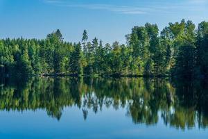 bela vista de verão em um lago na Suécia foto