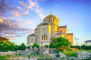 paisagem de chersonesos e do templo de st. Vladimir foto