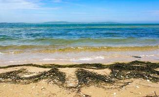 vista do mar com a costa do mar de azov. foto