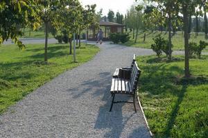 caminho de cascalho com bancos no parque de sochi foto