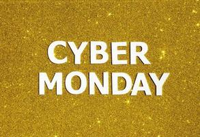 vista de cima cibernética com glitter dourado segunda-feira foto