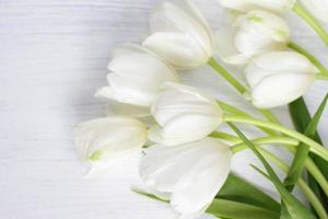 flores de tulipa branca em madeira branca foto