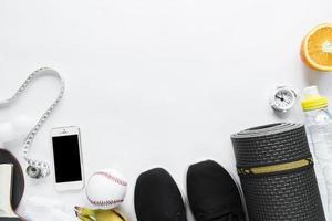conjunto de objetos de estilo de vida saudável foto