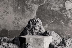 pódio de concreto escuro com pedras para exibição de produtos, renderização em 3D foto