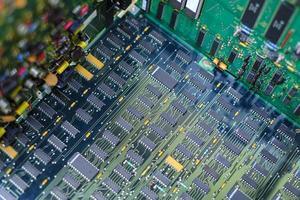 detalhe da placa de circuito eletrônico foto
