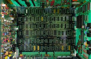 close-up da placa de circuito eletrônico foto