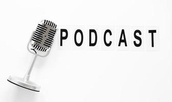 podcast de microfone de vista superior. conceito de foto bonita de alta qualidade e resolução