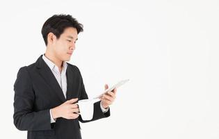 empresário asiático com hora do café foto