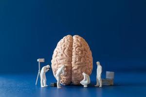 pessoas em miniatura, cientistas observando e discutindo o conceito de serviço do cérebro humano, saúde médica e médico cirúrgico. foto