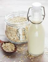 leite alternativo vegan não lácteo. leite em flocos de aveia foto