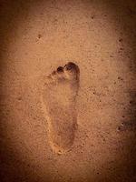 a pegada na praia de areia foto