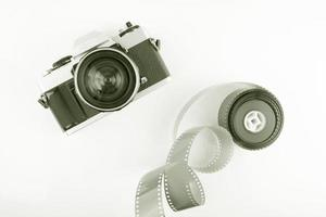 câmera de filme vintage com rolo de filme foto