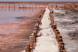 um fantástico lago de sal rosa com cristais de sal em pilares de madeira foto
