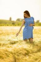 mulher grávida correndo de mãos dadas no campo de trigo foto