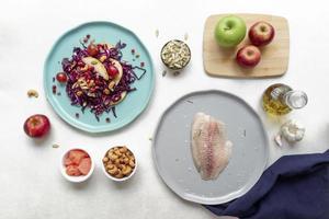 fundo de composição de alimentos dieta flexitarista foto
