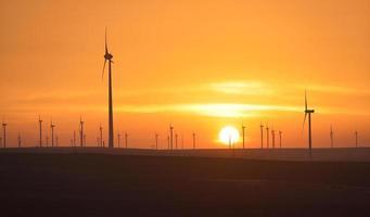 Parque das turbinas eólicas ao pôr do sol foto