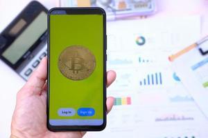 moeda de criptomoeda e conceito de moeda digital foto