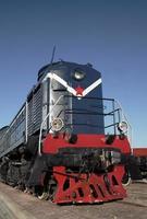 locomotiva azul com estrela vermelha foto