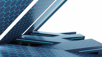 Renderização 3D de fundo hexagonal azul foto