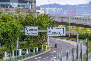 vista de uma estrada na cidade de macau, china, 2020 foto