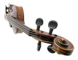 violino antigo marrom escuro antigo isolado no branco foto