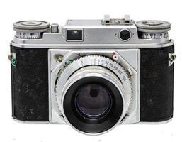 retrato de uma câmera antiga com pala de sol isolada no branco foto