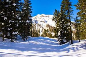 picos de dolomita cobertos por neve foto