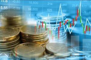 investimento no mercado de ações, troca de moeda financeira e gráfico de gráfico ou forex para analisar lucro, finanças, negócios, dados de tendência foto