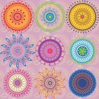 um conjunto de 9 mandalas coloridas foto