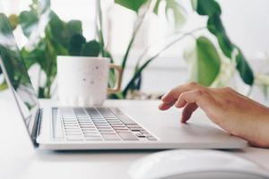 pessoas usando laptop para trabalhar, estudar na mesa de trabalho, negócios, finanças, mercado, ações, e, rede social foto