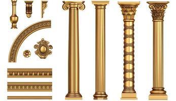 conjunto de colunas douradas antigas clássicas foto