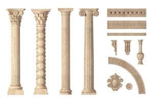 conjunto de colunas clássicas de mármore antigo foto