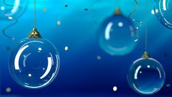 bolas de natal de vidro de fundo em um fundo azul foto
