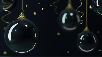 fundo de vidro bolas de natal fundo preto foto