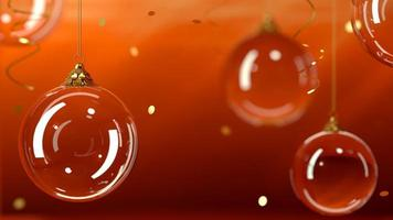 fundo vidro bolas de natal fundo vermelho foto