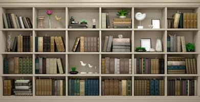 Ilustração 3D do fundo da parede de madeira com livros foto