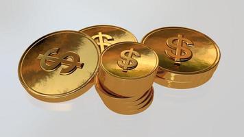 moeda de ouro com cifrão no fundo da mesa, renderização em 3D foto