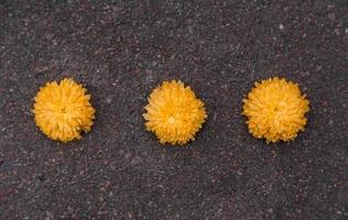 três flores de calêndula amarela caídas na calçada foto