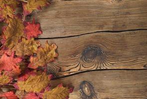 folhas de outono coloridas em um fundo de madeira marrom foto