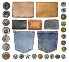 coleção de várias peças de jeans foto