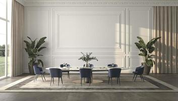sala de jantar luminosa e luxuosa com luz solar e vista da natureza. 3d rendem a ilustração design de interiores bege foto