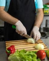chef de restaurante fazendo salada, cortando cebola foto