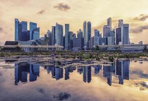 vista da baía da marina na cidade de Singapura foto