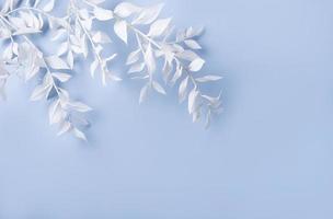 moldura de ramos brancos em um fundo azul foto