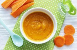 baby cenoura amassada com colher na tigela foto