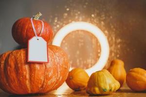 composição de outono de abóboras e abóbora foto