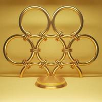 cena mínima com pódio de ouro e renderização 3d de anel foto