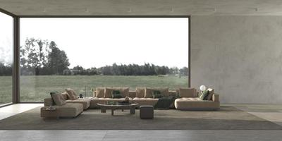 interior de sala de estar moderno e luxuoso e luminoso com simulação de parede de estuque e bela natureza com vista para a floresta. foto